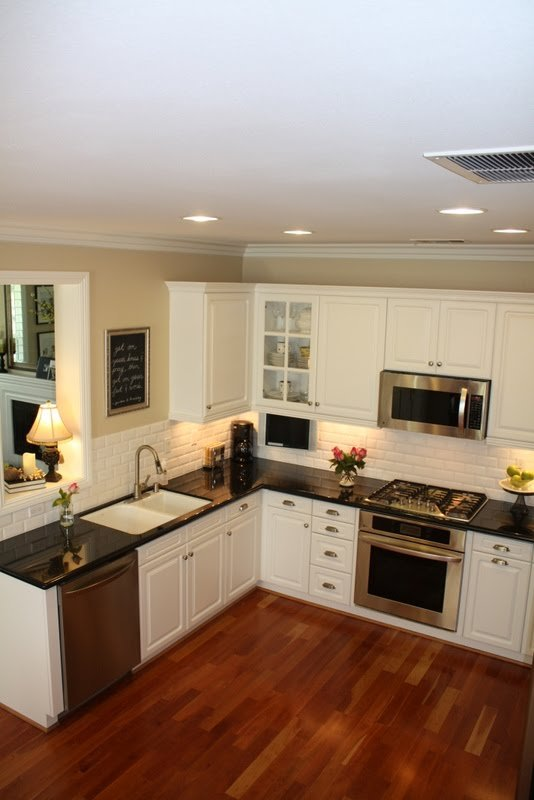 Our kitchen makeover is complete a thoughtful place for Hardwood floors under cabinets
