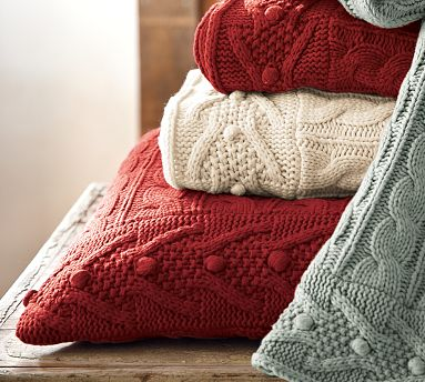 Cable-Knit Euro Sham, Cardinal Red