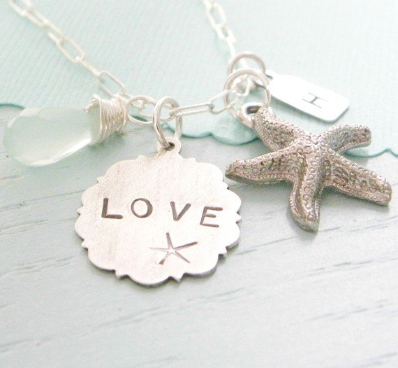 love the sea handstamped necklace