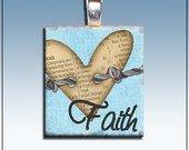 Handmade Scrabble Tile Pendant, Faith, Heart, Blue, Silver Bail