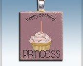 Handmade Scrabble Tile Pendant, Happy Birthday Princess, Cupcake, Purple, Silver Bail