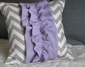 Ruffled Decorative Pillow cover. Gray Chevron with Purple ruffle