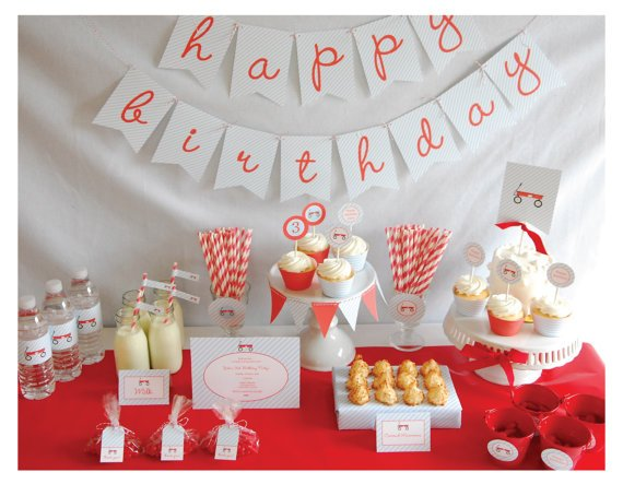 Printable Full Collection - Red Wagon Party Package -  by Pretty Smitten