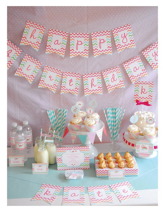 Printable Full Collection - Rainbows and Butterflies Party Package -  by Pretty Smitten