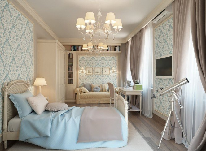 In the master bedroom suite, feminine fleur-de-lis wallpaper in powder blue freshens cream furniture and trims, along with matching blue bedcover and sofa accent cushions, to tie the whole scheme together from top to toe. The ornate decadence continues across the ceiling with a duo of shaded chandeliers for a cozy glow.