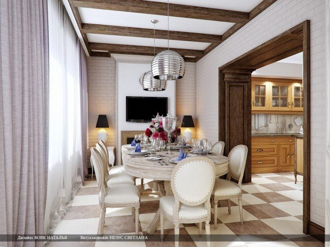 Cream brown dining room silver pendant lights