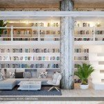 Gray-white-dual-level-home-library-665x374