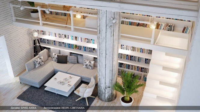Gray white home library lounge