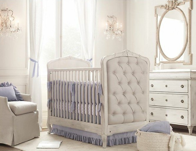 Upholstered crib white blue nursery