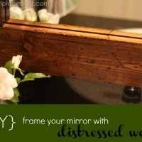 How to Frame a Bathroom Mirror {Distressed Wood}