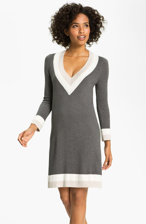 FELICITY & COCO Colorblock V-Neck Sweater Dress (Nordstrom Exclusive)