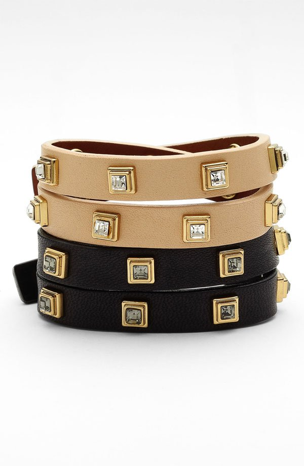 Tory Burch 'Diamante' Stacked Square Wrap Bracelet