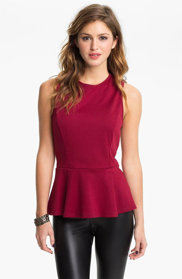 Living Doll Peplum Top (Juniors)