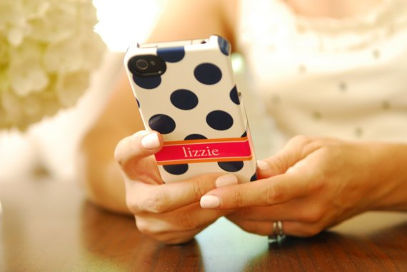 Personalized iPhone 5 or 4 Case - POLKA DOT Collection, choice of color