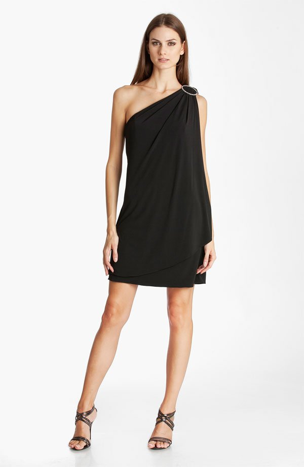 JS Boutique One Shoulder Draped Jersey Dress