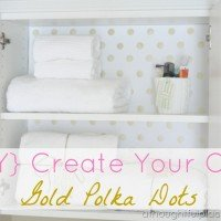 {DIY} Gold Polka Dot Paper & Linen Closet