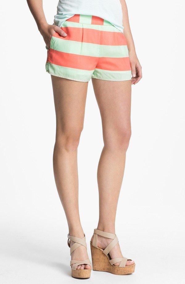 Splendid Neon Stripe Smock Waist Shorts
