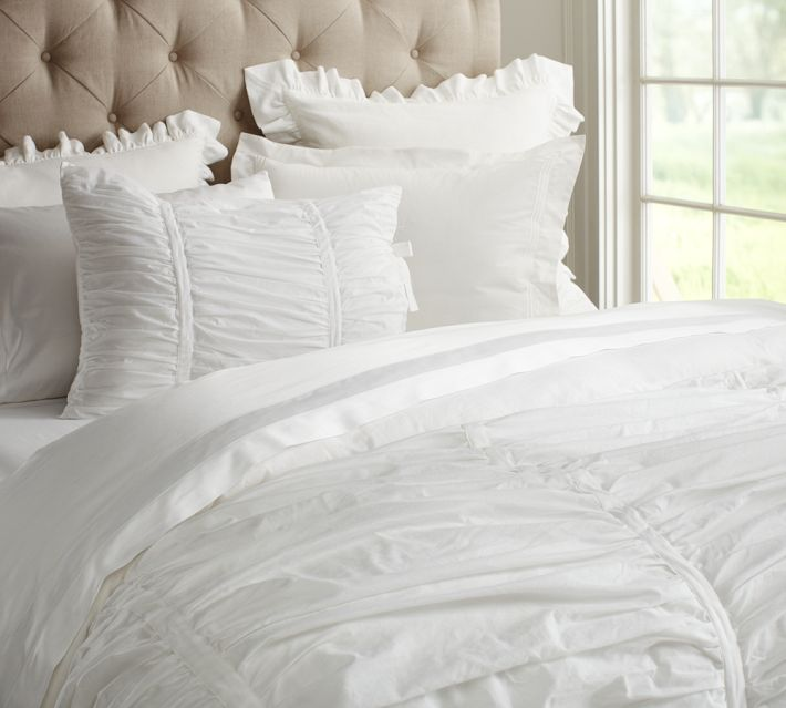 Hadley Ruched Duvet Cover & Sham - White