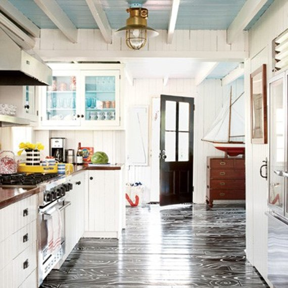 When you have a coastal vibe, I am not sure you can ever go wrong with  color on the ceiling. With all of that natural light pouring in it's just  beautiful.