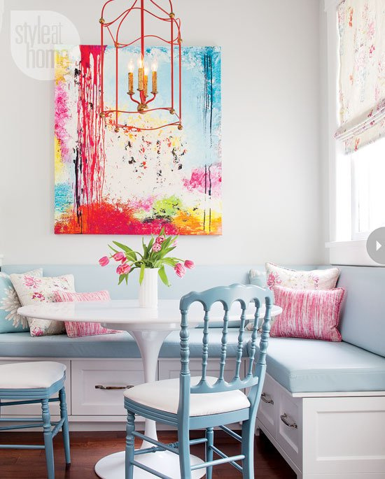 Friday eye candy white walls pop of color art a for Colorful kitchen wall art