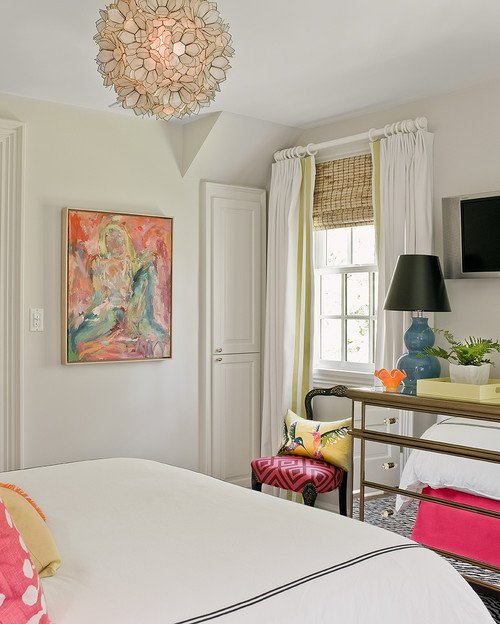 White Bedroom With Pop Of Color friday eye candy: white walls + pop of color art - a thoughtful place