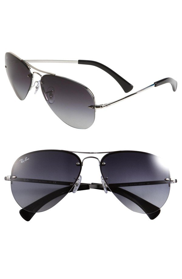 Ray-Ban 56mm Rimless Aviator Sunglasses