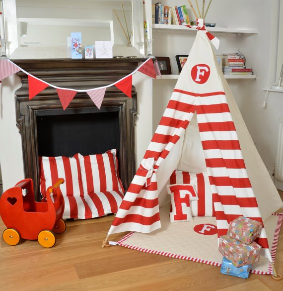 Teepee Play Tent - Tipi - Personalized Red and White Stripe