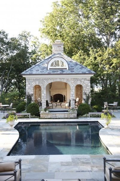 Stone Pool House | Camille Styles |  Stone Pool House, via houzz.com