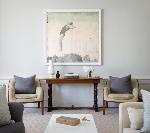 console table in living room. houzz com  midwest living Five Ways to Hang Art Above a Console Table A Thoughtful Place