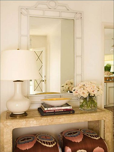 Five ways to hang art above a console table a thoughtful for Ways to decorate a foyer