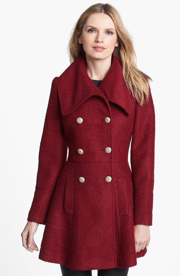 GUESS Double Breasted Bouclé Coat (Regular & Petite)