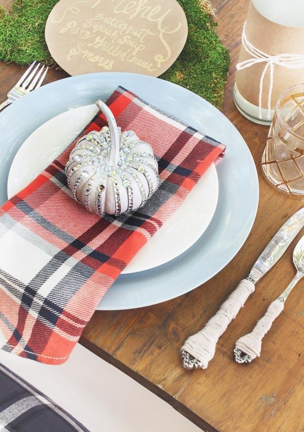 Fall Table Setting | Plaid Napkin | Twine Wrapped Flatware