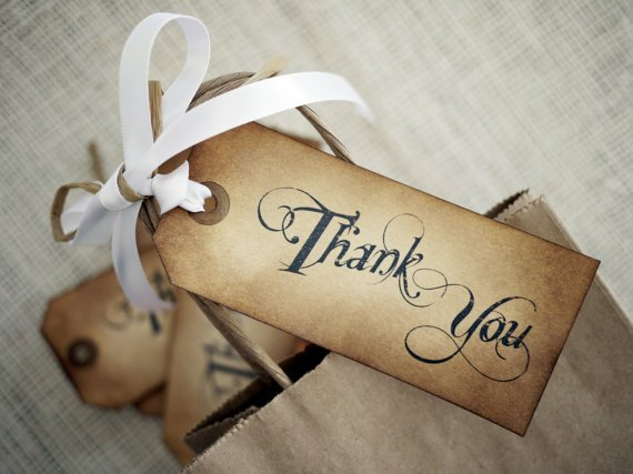 Thank You Tags - Hand Inked Set of 6 Wedding Favor Tags w/ Ribbon & Raffia