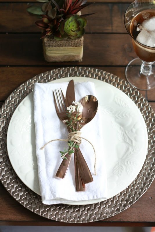 Fall Table Rose Gold Flatware A Thoughtful Place