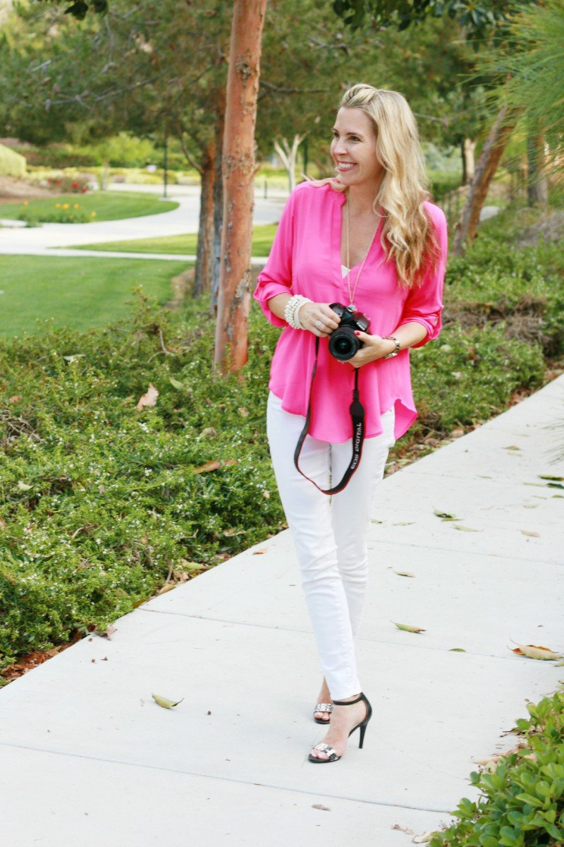 white jeans and pink