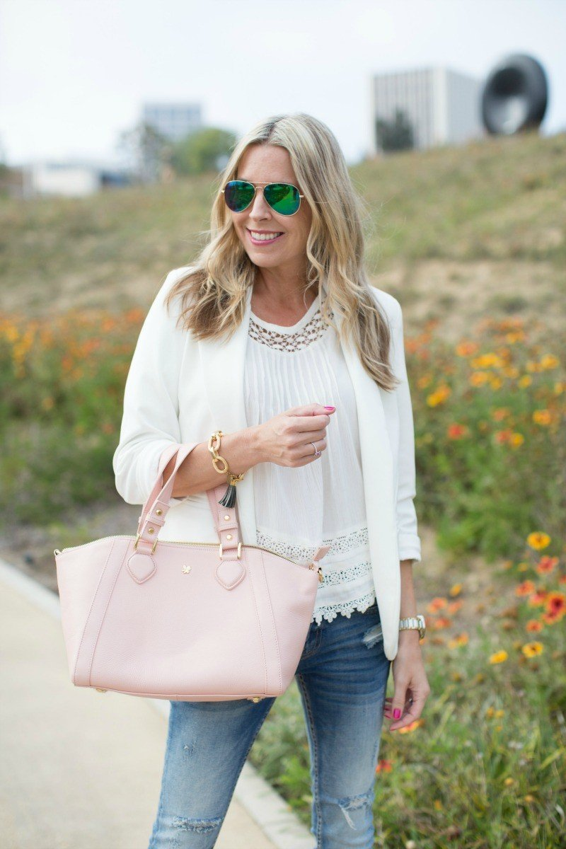 4e7f45c85803 I adore all white with denim and think it looks really fresh. I chose to  toss in pale pink with mine