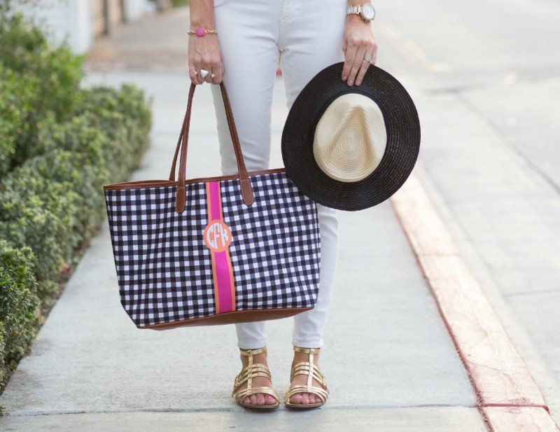white with gingham bag