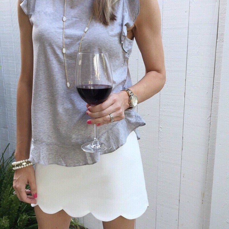 white scalloped skirt