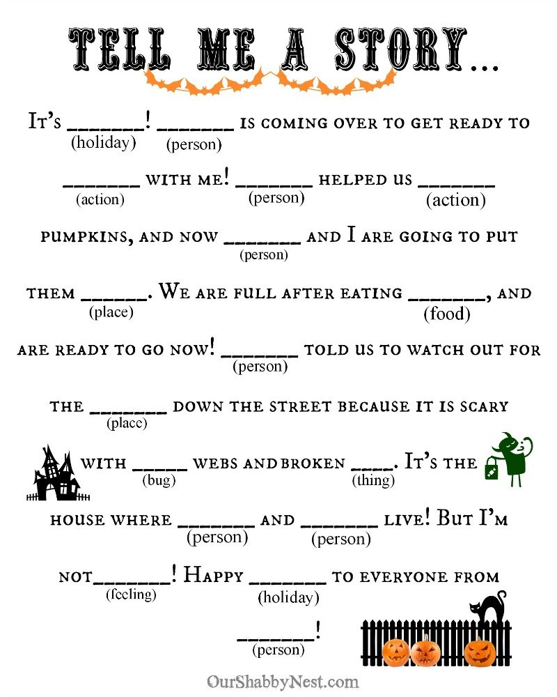 graphic relating to Mad Libs for Kids Printable referred to as 4 Very simple Halloween Functions - A Considerate Destination