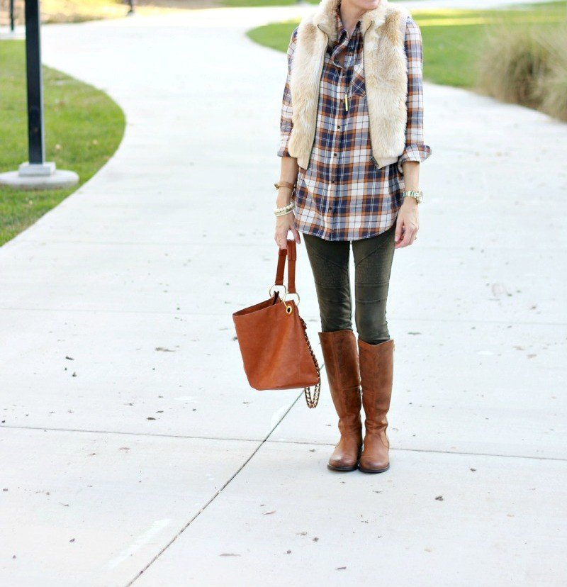 plaid and leggings