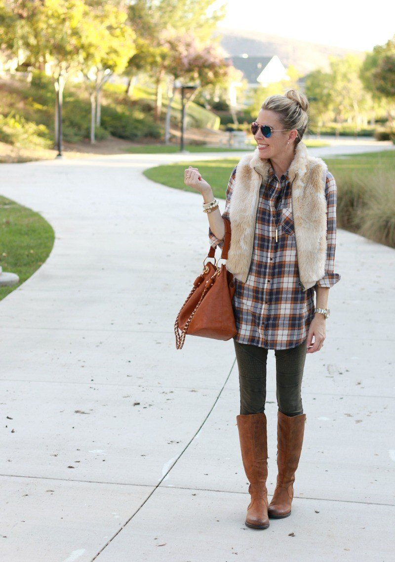plaid shirt and leggings