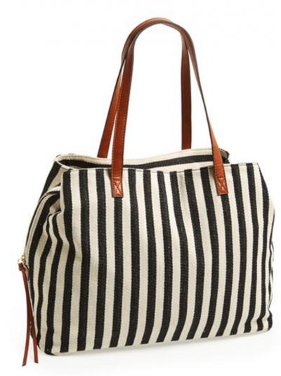 striped travel bag