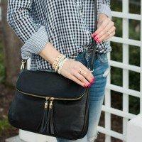 black handbag saturday shopping