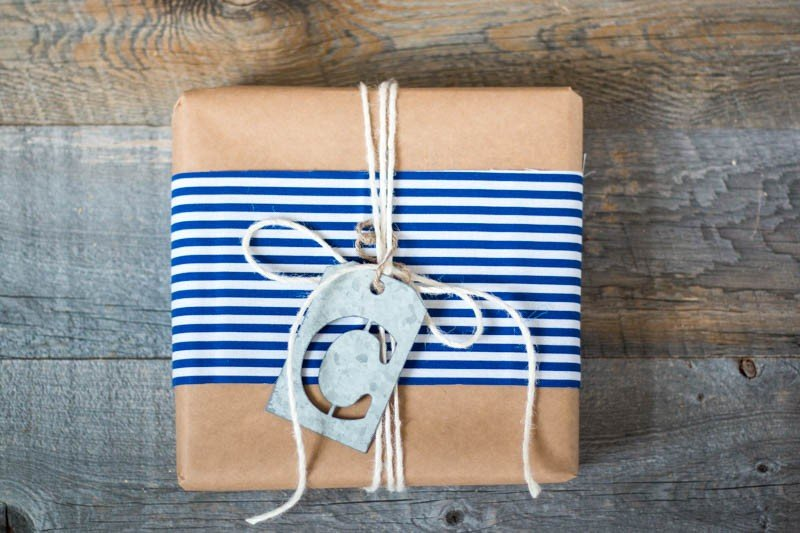 striped monogram package