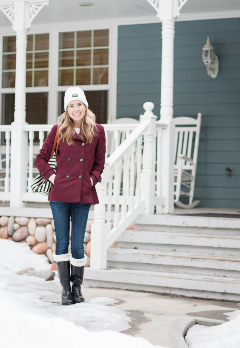 red coat and boots