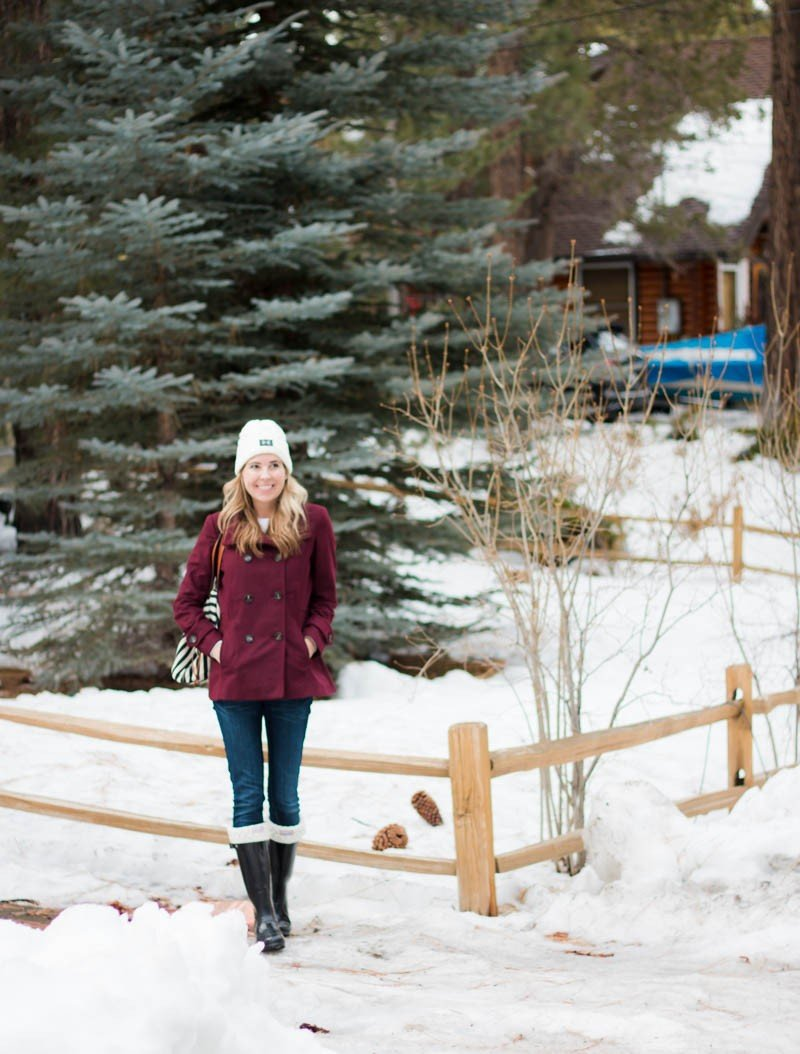 red coat and winter boots
