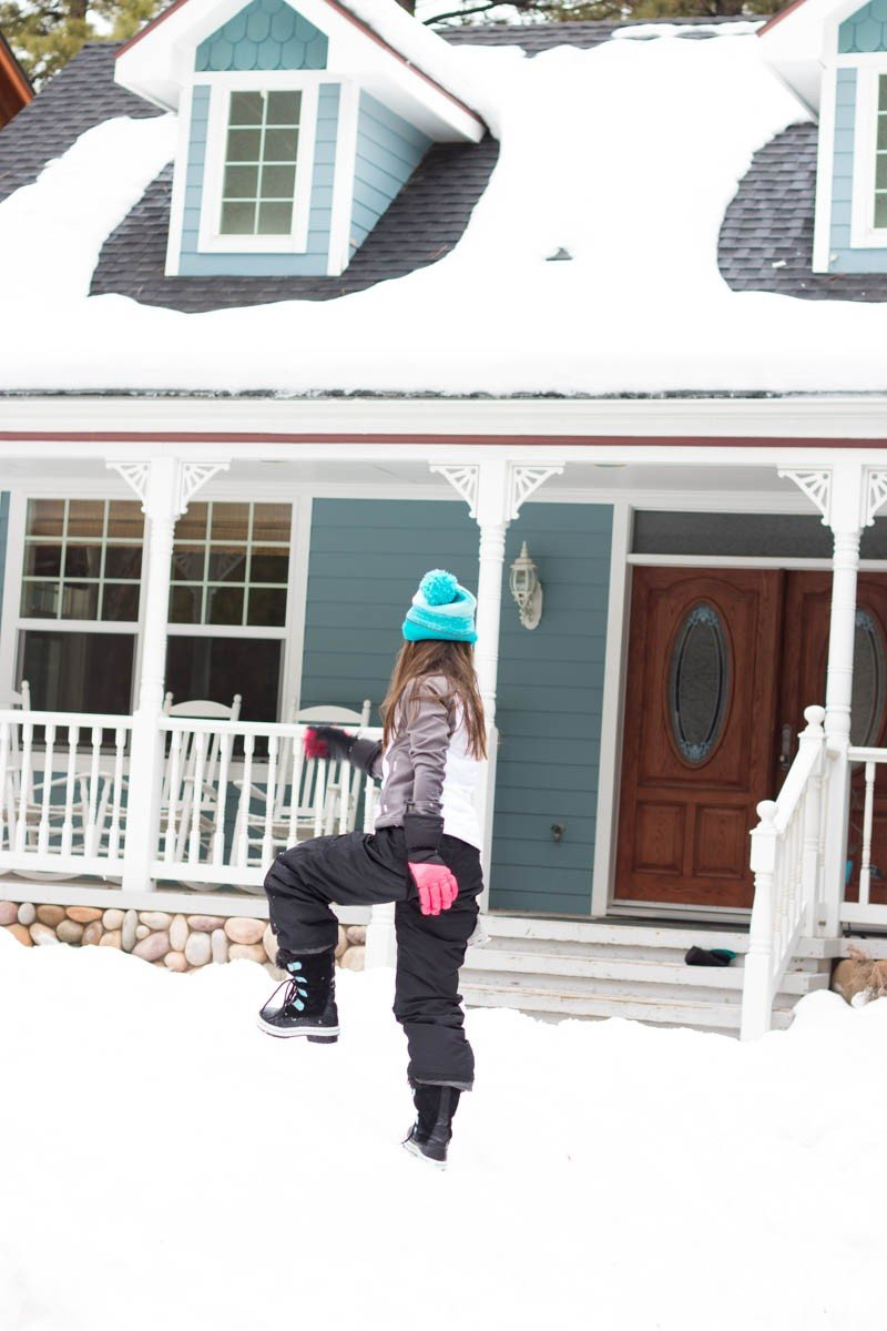 snow on house
