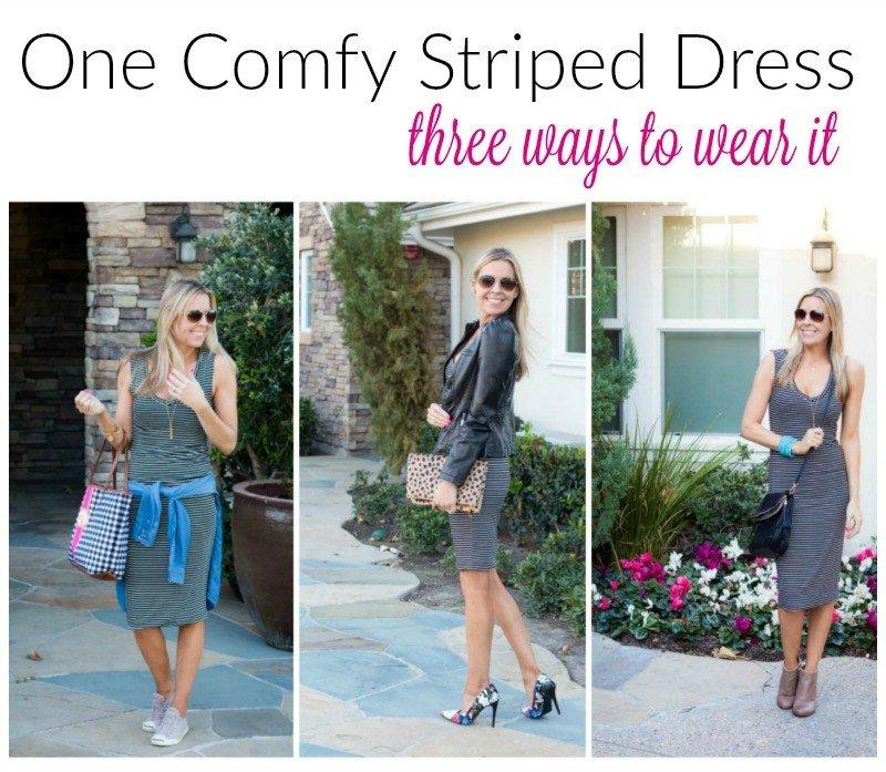 three ways to wear the striped dress