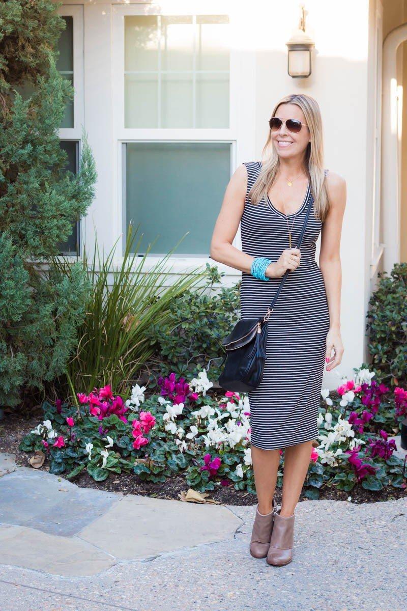 striped dress with aqua