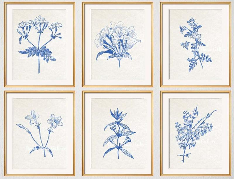 set of six blue